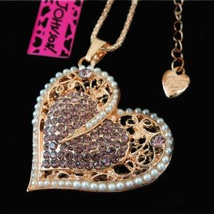 Betsey Johnson Classic Crystal Heart Necklace